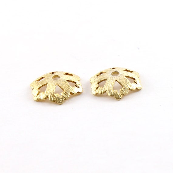 2 Pieces 14mm Brushed Vermeil Large Flower Bead Cap Spacer Bead Jewelry Making Supplies