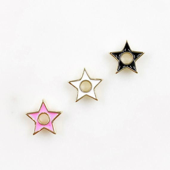 Mini Gold Rimmed Enamel Star Charm Celestial 5 Point Star Charm Choose your Color Pink, White, or Black