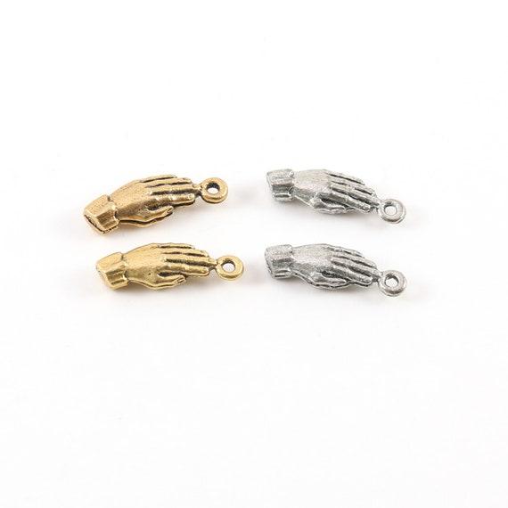 2 Pieces Pewter Base Metal Praying Hands Prayer Pendant Religious Spiritual Catholic Christianity Necklace Charm