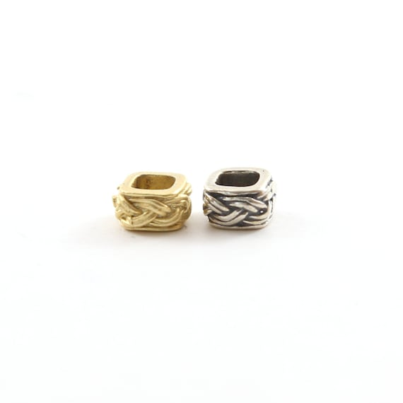 Tibetan Style Knot Square Bead Vermeil or Sterling Silver 925 Large Hole Spacer Beads Leather Slide Bead