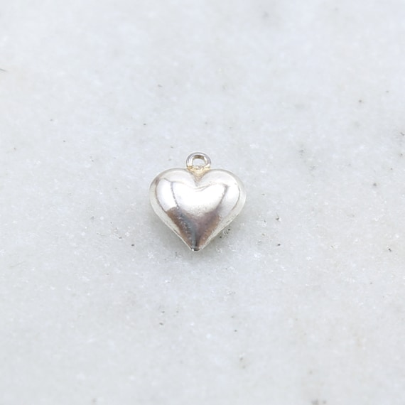 Sterling Silver Large Puffy Heart Lightweight Charm Dainty Heart Love Pendant
