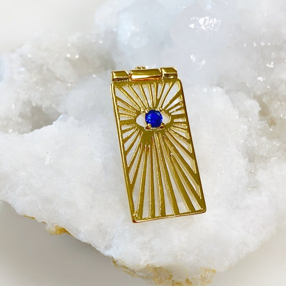 Unique Rectangle Evil Eye Charm With Blue Round Crystal, Pendant Evil Eye Gold Plated CZ Drop Charm Cubic Zirconia Protection Charm