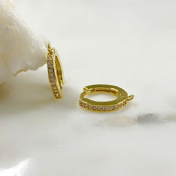 Medium 1 Pair Shimmering Cubic Zirconia Pave Hoop Earrings, Gold Plated Earring, Hoop Component- Sold as a Pair