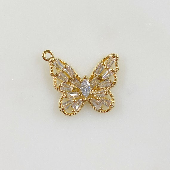 Baguette Butterfly Charm Gold Plated Baguette Shaped CZ Butterfly Charm