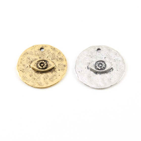 Round Coin Evil Eye Center Pewter Base Metal Pendant 23mm Charm with Raised Middle Protector Necklace Charm Religious Spiritual Charm
