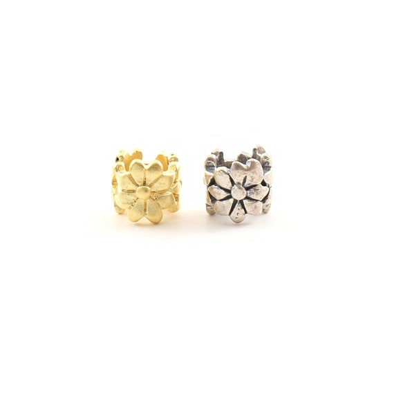Artisan Daisy Flower Large Hole Spacer Bead in Vermeil or Sterling Silver 925