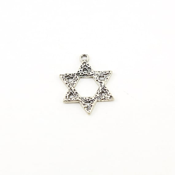Hammered Textured Sterling Silver Star of David Charm Religious Pendant