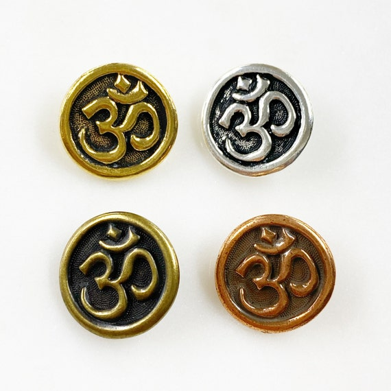 1 Piece Ohm Pewter Coin Button Choose Your Color Antique Unique Religious Spiritual Buddhist, Gold, Silver, Copper, Brass