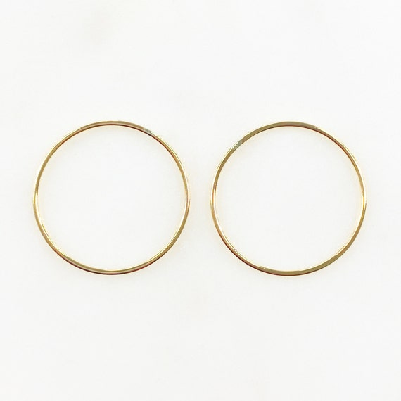 2 Pieces 24.5mm 14k Gold Filled Smooth Connector Ring Open Circle Charm Soldered Ring Jewelry Making Supplies