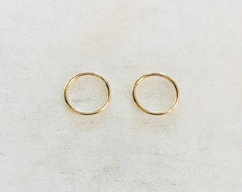2 Pieces 12mm Shiny Gold Smooth Connector Ring Open Circle Charm 14K Gold Filled