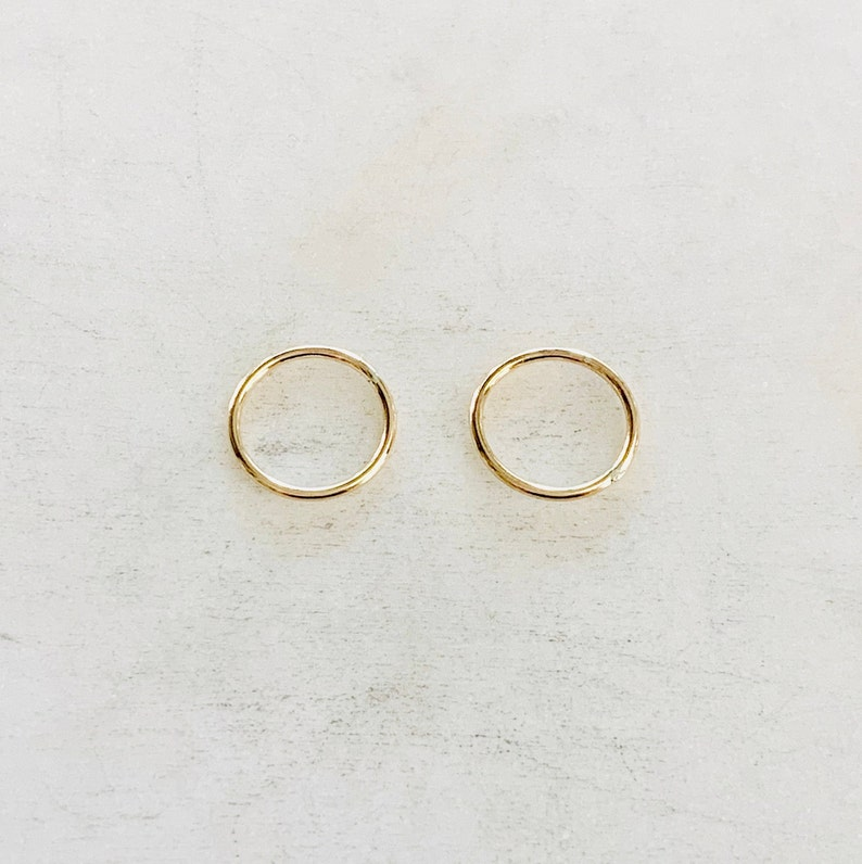 2 Pieces 12mm Shiny Gold Smooth Connector Ring Open Circle image 0