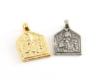 Durga Goddess Charm Hindu Hinduism Spiritual Religious Pendant in Vermeil Gold or Sterling Silver