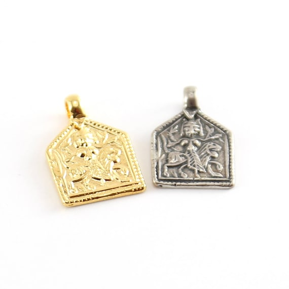 Durga Goddess Charm Hindu Hinduism Spiritual Religious Pendant in Vermeil Gold or Sterling Silver