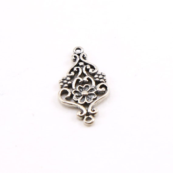 Sterling Silver Daisy Flower and Swirl Connector Charm