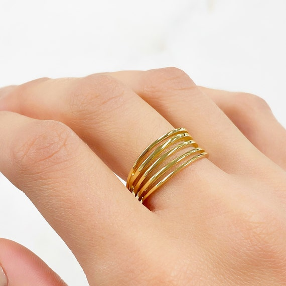 Vermeil Multi Band Vintage Inspired Ring Size 7 Ready to Wear Ring