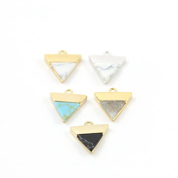 Howlite Marble Triangle Charms Rhodium Plated Gold or Silver Modern Delicate Geometric Pendant