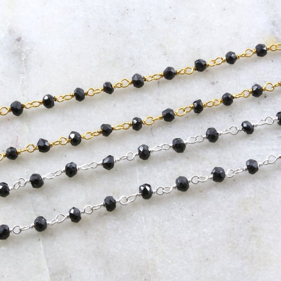 Dainty Spinel Gemstone Black Rosary Beaded Wire Wrapped Chain Sterling Silver or Vermeil  / Sold by the Foot / Bulk Unfinished Chain