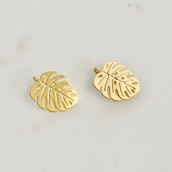 Tropical Monstera Leaf Plant Charm Sliding Gold Plated Leaf 16mm x 19mm Sideways Loop