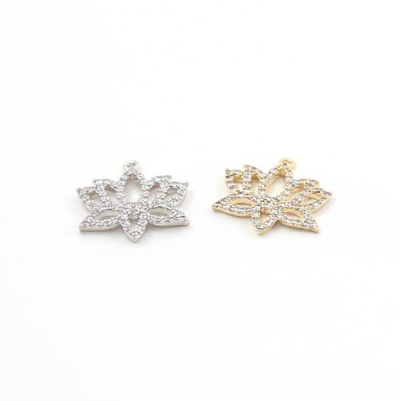 Pave CZ Rhodium Plated Large Lotus Charm in Silver or Gold