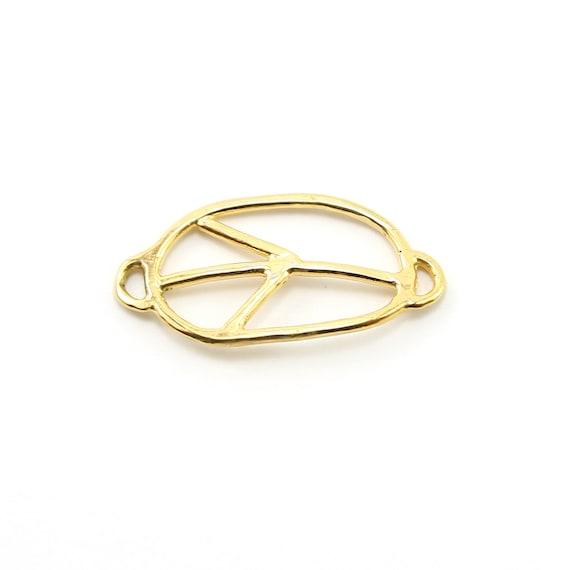 Organic Vermeil Peace Sign Oval Shape Bracelet Connector Charm Gold Hippie Love Pendant