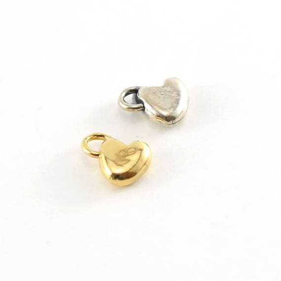 Thick Sideways Organic Heart Charm in Sterling Silver and Vermeil Gold