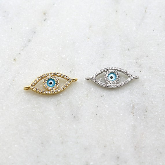 CZ Large Evil Eye Blue Stone Eye Rhodium Plated Necklace Bracelet Connector Charm in Gold and Silver
