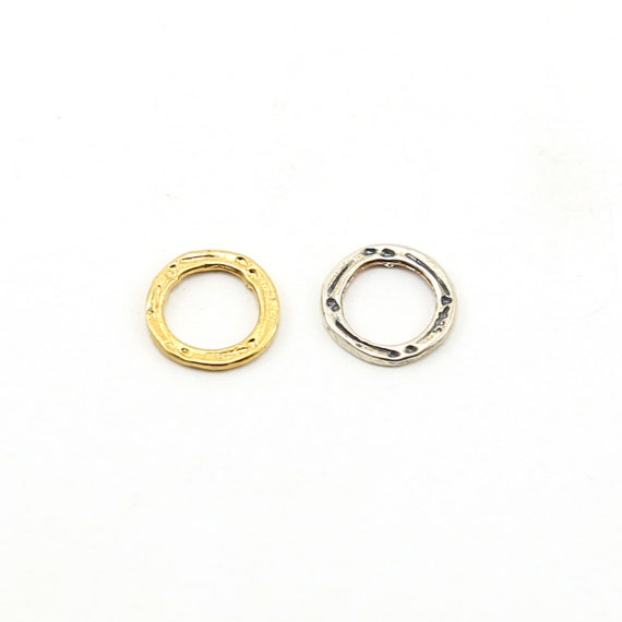 Small Hammered Textured Open Circle Connector Ring in Sterling Silver or Vermeil Gold