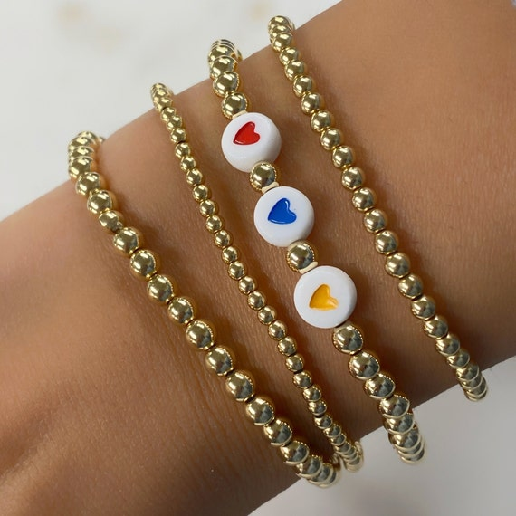 Support Armenia 14k Gold Filled Beaded 3 Hearts Bracelet *100% of proceeds donated DIRECTLY to our brave soldiers and displaced families*