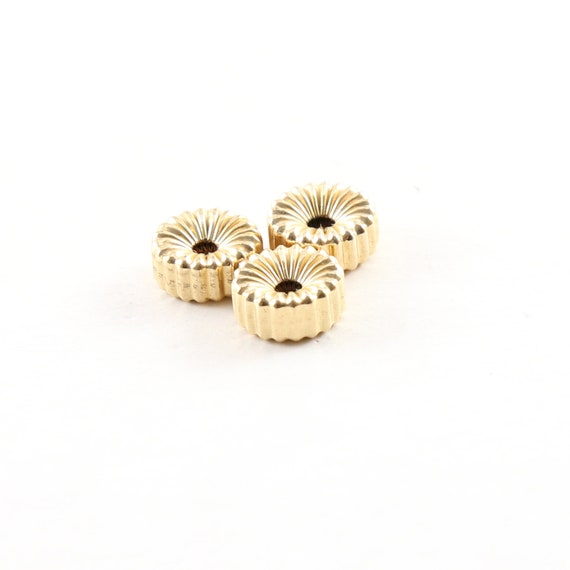 3 Pieces 8mm Corrugated Seamless Pony Rondelle 14K Gold Filled Spacer Beads