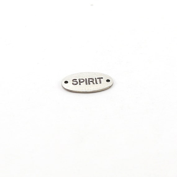 Sterling Silver Spirit Stamped Rounded Oval Connector Charm Inspiration Pendant Dog Tag