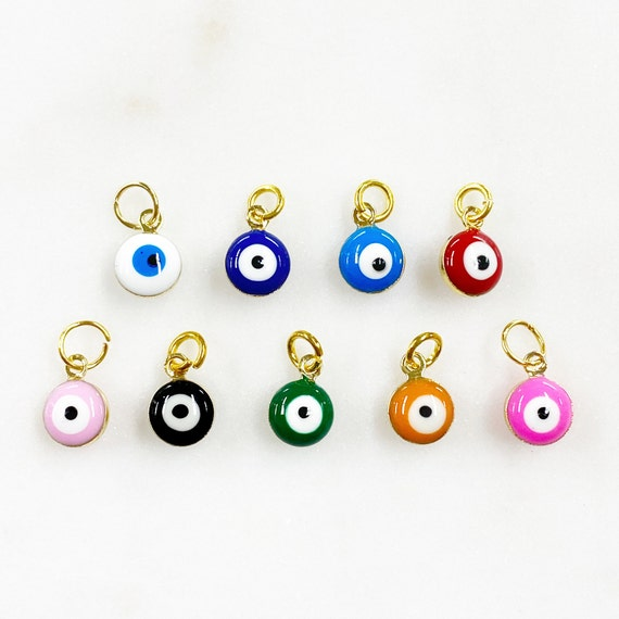 1 Piece Double Sided Evil Eye Charm with Ring Rounded Evil Eye Protection Charms Choose Your Color