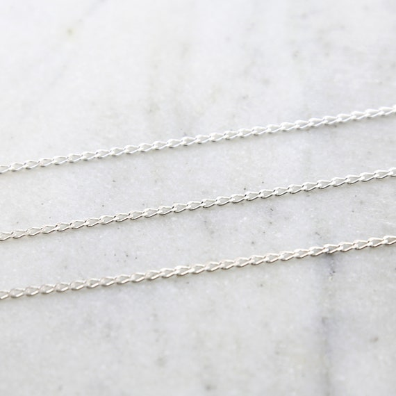 Diamond Cut Curb Chain Sterling Silver / Sold by the Foot / Bulk Unfinished Chain