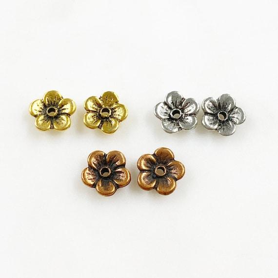 2 Piece Pewter Flower Button Unique 1 Hole Floral Button Choose Your Color Antique Gold, Antique Silver, or Antique Copper