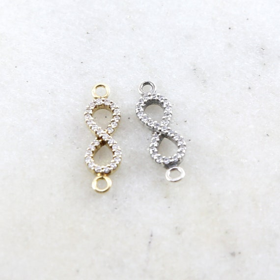 CZ Infinity Connector Charm Cubic Zirconia Link Charm in Sterling Silver or Vermeil Gold