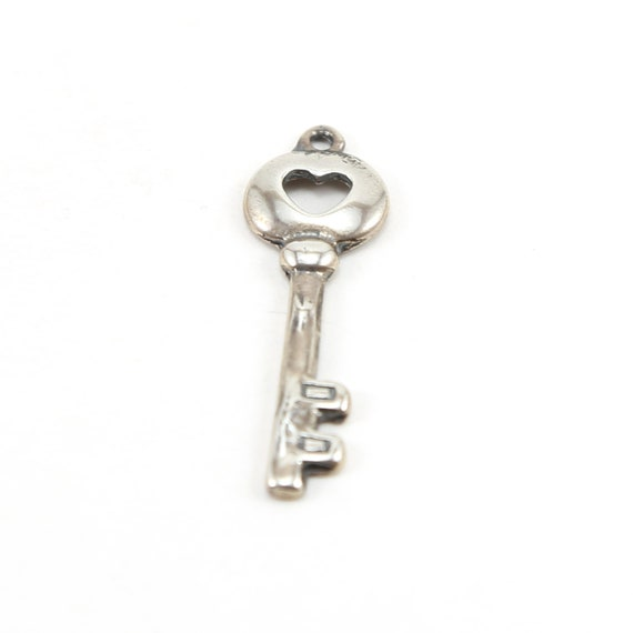 Heart Cut out Large Key Charm in Sterling Silver Love Friendship Romantic Pendant
