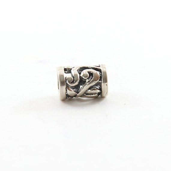 Tibetan Style Curly Leaf Sterling Silver 925 Large Hole Spacer Bead Leather Slide Bead