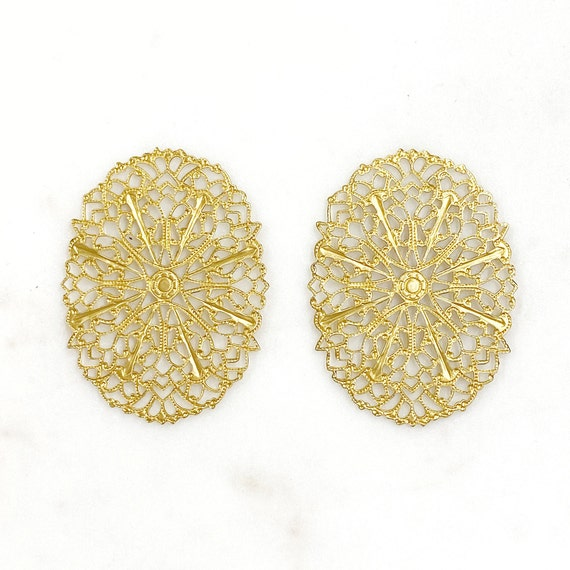 2 Piece Filigree Raw Brass Oval Shaped Intricate Unique Jewelry Making Supplies
