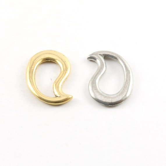 Large Thick 23mm Smooth Open Teardrop Paisley Design Pewter Metal Connector Ring Charms Gold or Silver