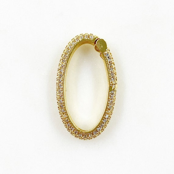 Oval Shaped CZ Covered Push Gate Clasp Gold Plated Unique Clasp