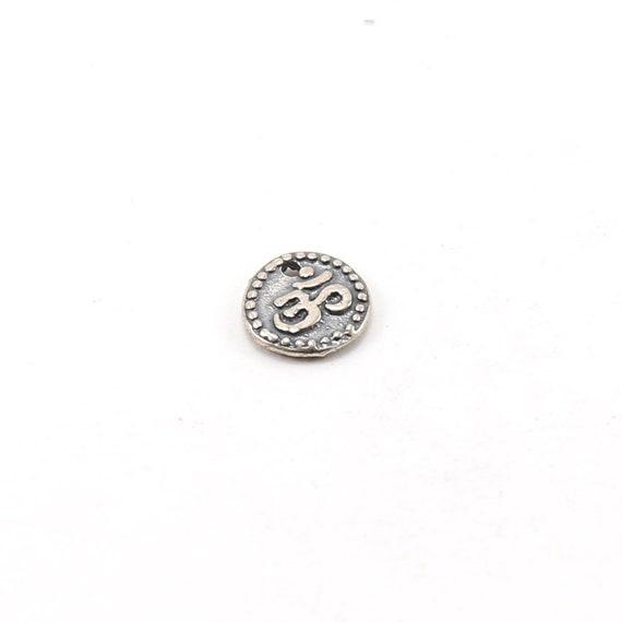 Sterling Small Raised Om Ohm Circle Coin Medallion with Dotted Edge Buddha Mantra Yoga Charm Single Hole Pendant