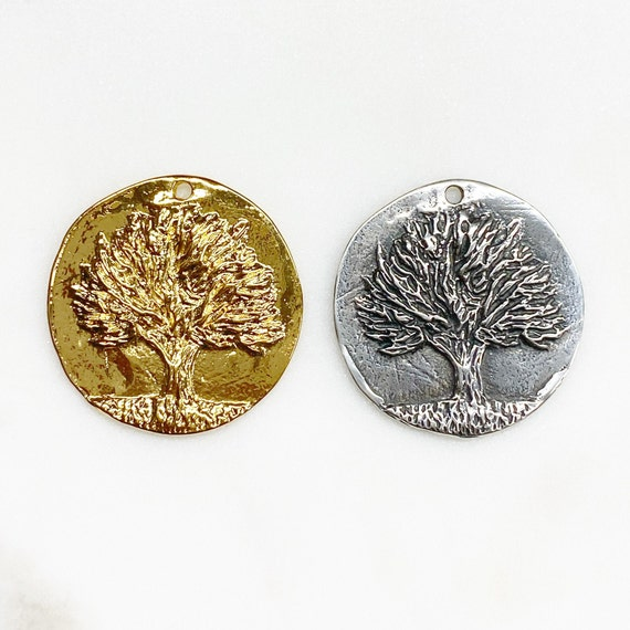 Large Vermeil or Sterling Silver Knowledge Tree Coin Charm Back Reads Knowledge Choose Your Color Nature Plant Charms