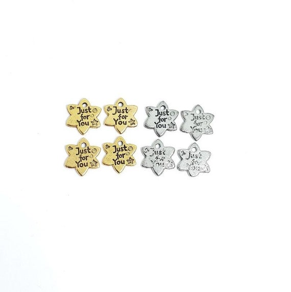 4 Pieces Pewter Cute Star Shaped Just For You Stamped Word Charm Double Sided Pendant Antique  Gold and Antique Silver