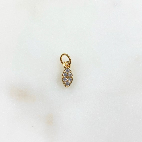 Teeny Tiny Marquis Shaped CZ Charm Gold Plated Small Sparkle Charm with Jump Ring