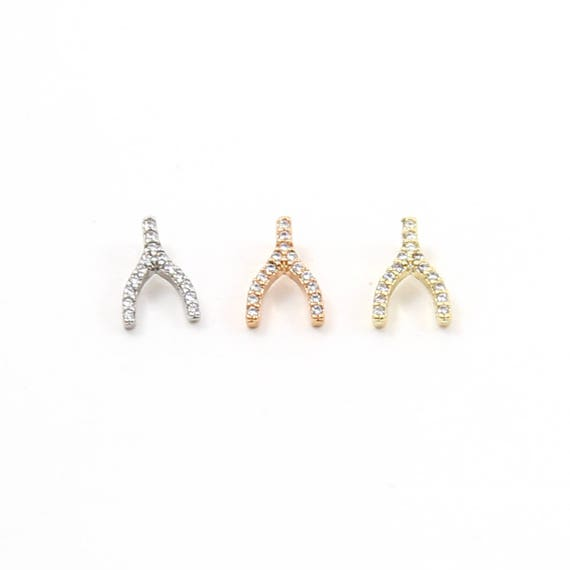 Tiny CZ Pave Wishbone Silver, Gold, Rose Gold, Small Rhodium Plated Charm Good Luck Charm