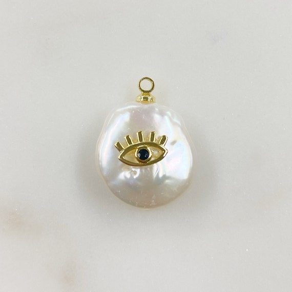 Freshwater Black CZ Center Eye and Eyelash Pearl Charm Gold Plated Natural Shape Pearl Charm