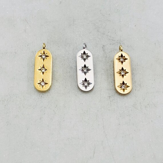 Trio Star Bar Pendant Sideways Drop Charm Pendant Celestial Pointed Star Pendant  Shiny Gold, Matte Silver, Matte Gold  15mm x 5mm