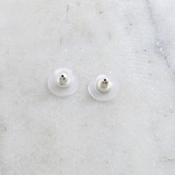 2 Pieces Sterling Silver Earring Nut Backing with Round Plastic Earring Component