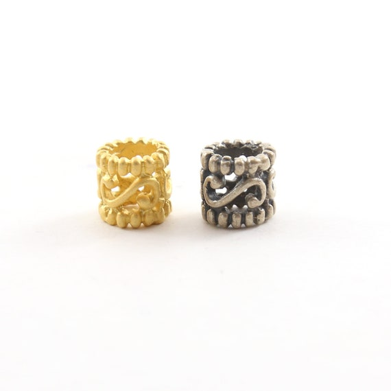 Curly Swirl Dotted Rim Bead Vermeil or Sterling Silver 925 Large Hole Spacer Beads Leather Slide Bead