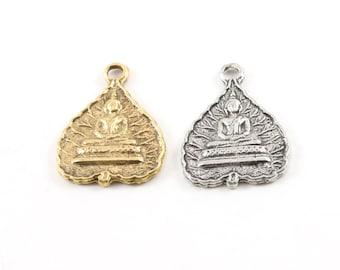 Sitting Buddha Leaf Pewter Charm Buddha Mantra Yoga Religious Spiritual Pendant 23mm x 17mm in Antique Gold, Antique Silver