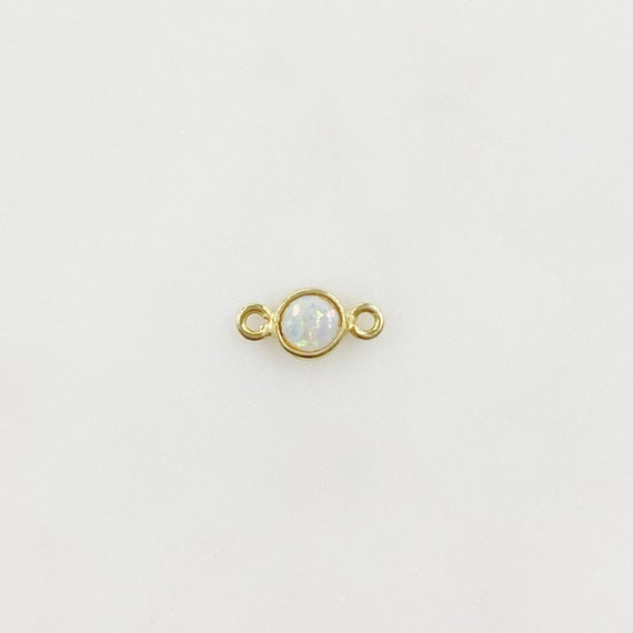 Opal Connector Charm 4mm Vermeil Gemstone Connector Charm Jewelry Making Supplies and Charms Opal Gem Charm
